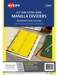 Bright Multi-coloured Manilla Dividers, A-Z Tabs