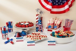 "Star-spangled buffet cards made with Avery Tent Cards and the ""All-American Candidate"" design, available in Avery Design & Print."
