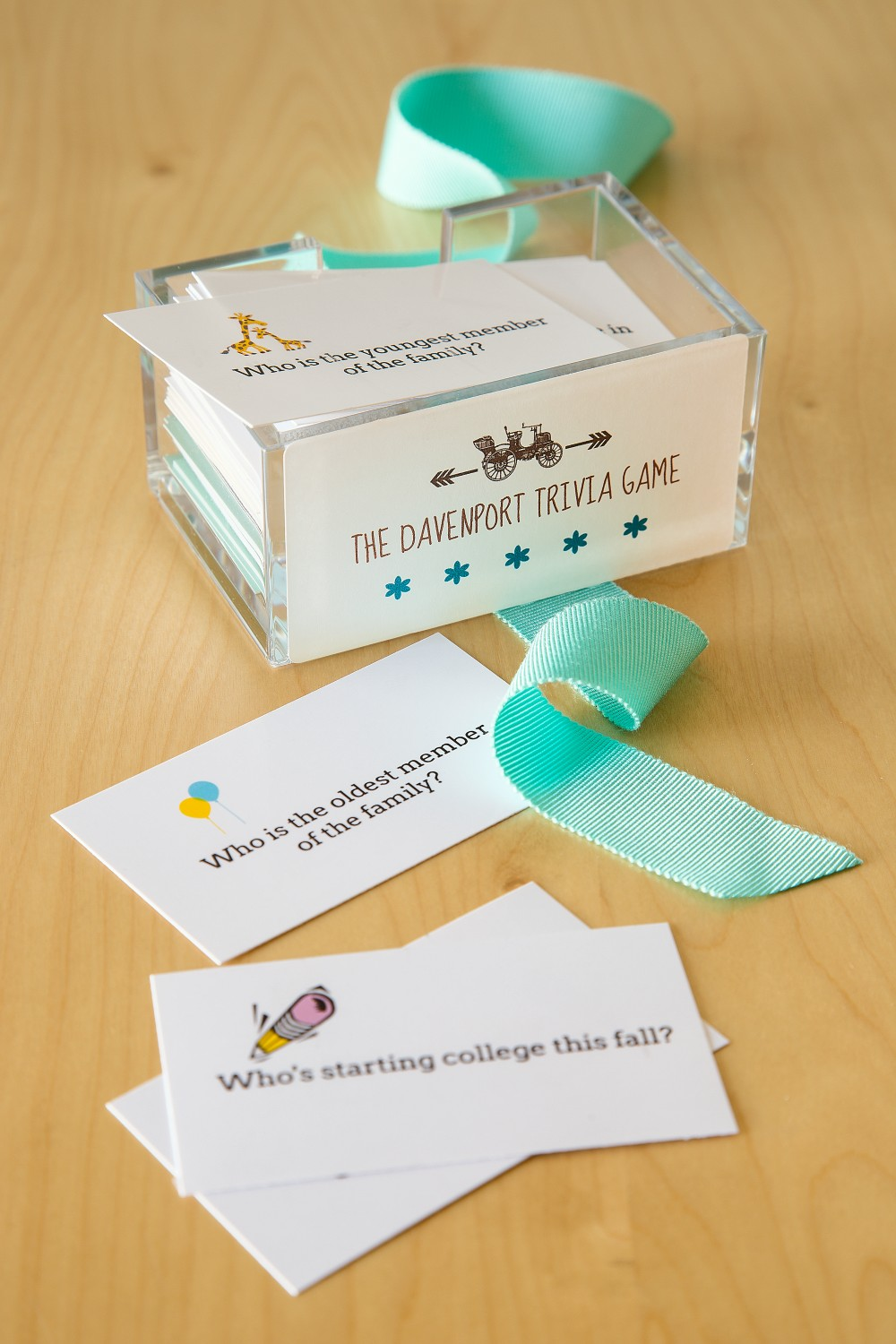 Create a personalized family trivia game with business cards for fun family reunion souvenirs.