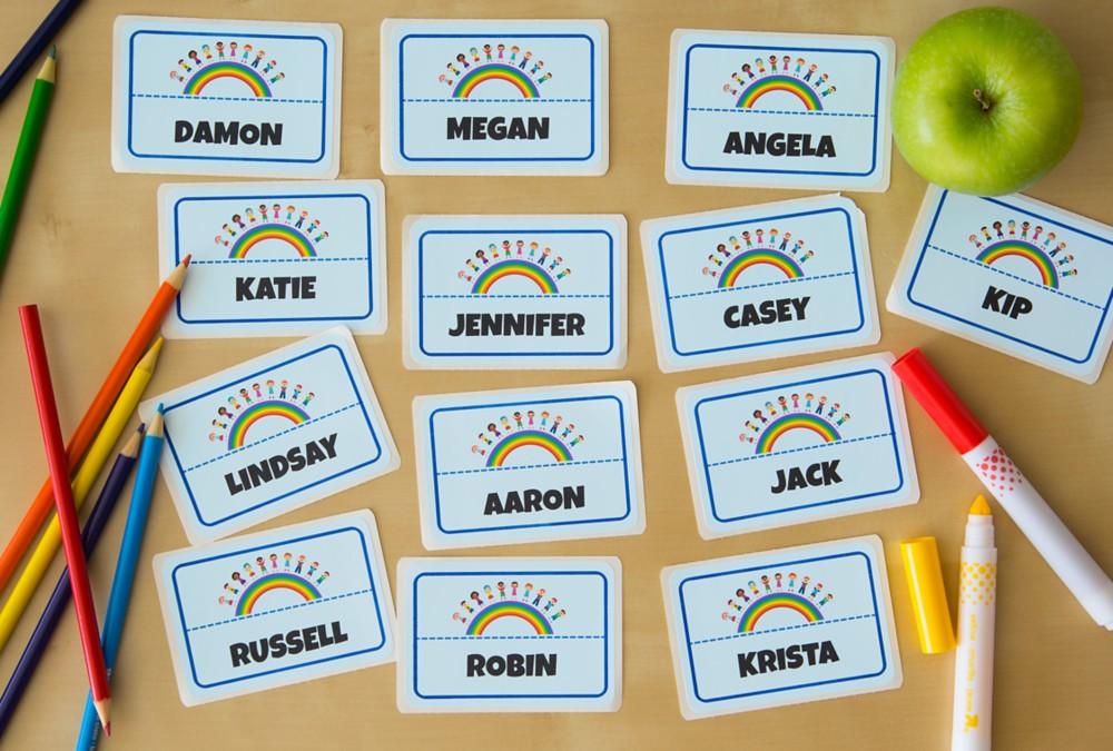 Adhesive name badges that won't damage fabric are ideal for passing out on the first day of school or at open house.