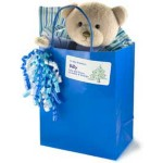 Sticker on Gift Bag with Stuffed Bear