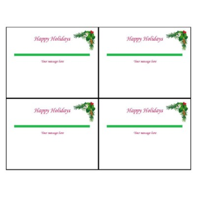 Christmas Wreath Postcard, 4 per sheet