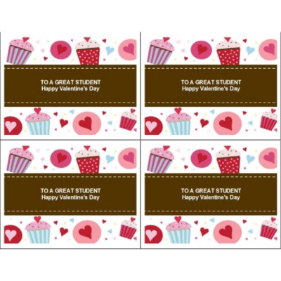 Valentine Cupcakes on Postcard - 4 per sheet, Wide