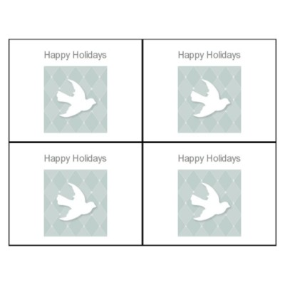 Holiday Peace Dove Postcard, Front, 4 per sheet