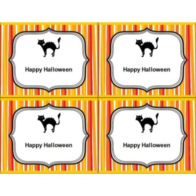 Halloween Cat with Stripe Pattern Postcard , 4 per sheet
