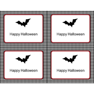 Halloween Bat with Houndstooth Pattern Postcard , 4 per sheet