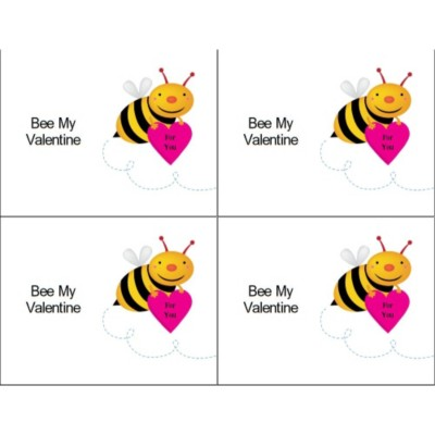 Bee My Valentine on Postcards, 4 per sheet