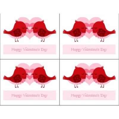 Valentine's Day Love Birds Postcard, 4 per sheet