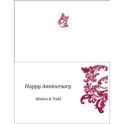 Elegant Flourish Anniversary Card ,1 per sheet