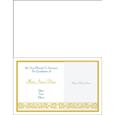 Graduation Announcement Half Fold Greeting Card - Wide, 1 per sheet