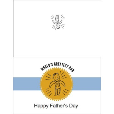 Retro Dad Father's Day Half-Fold Card, 1 per sheet, Wide
