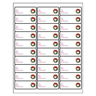 Christmas Wreath Address Label, 30 per sheet