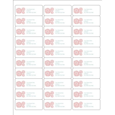 Pink Flower Burst Address Labels, 30 per sheet