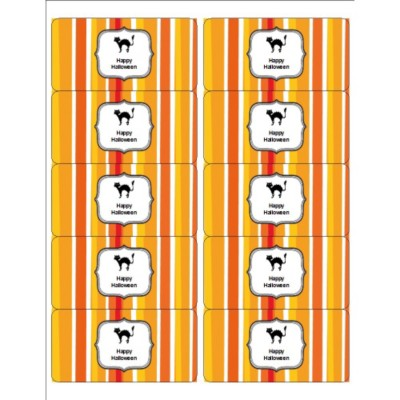 Halloween Cat with Stripe Pattern Shipping Labels , 10 per sheet