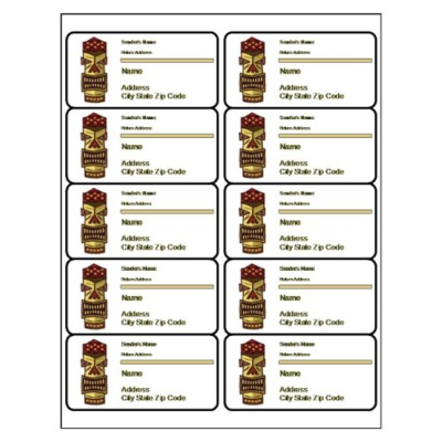 Tiki Shipping Label, 10 per sheet