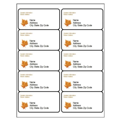 Thanksgiving Shipping Label, 10 per sheet
