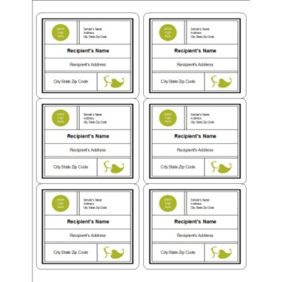 Modern Green Leaf Shipping Label, 6 per sheet