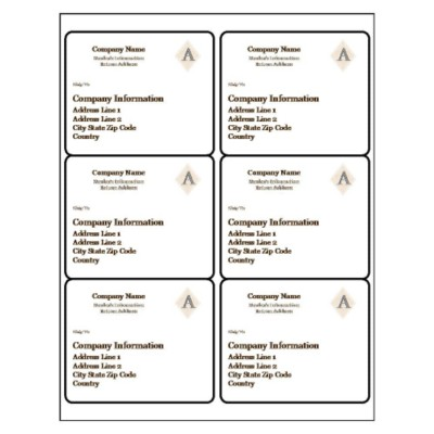 Beige Design Shipping Label, 6 per sheet