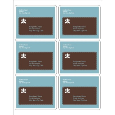 Classic Teal and Brown Shipping Label 6, per sheet