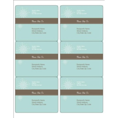Turquoise and Brown Shipping Labels, 6 per sheet