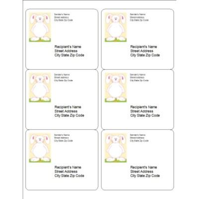 Easter Bunny Shipping Labels, 6 per sheet