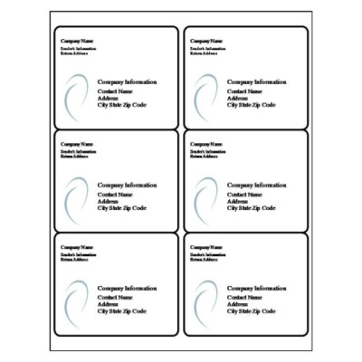 Ellipse Shipping Label, 6 per sheet