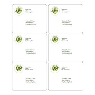 Green Sprig Shipping Labels, 6 per sheet