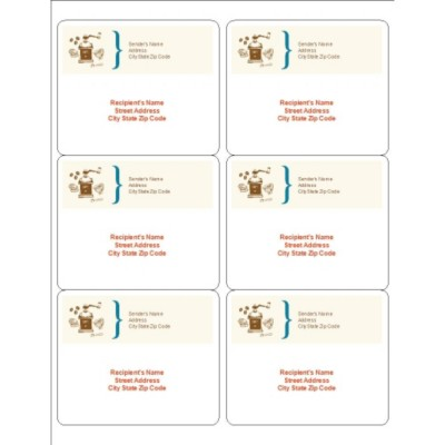 Coffee Grinder Shipping Labels, 6 per sheet
