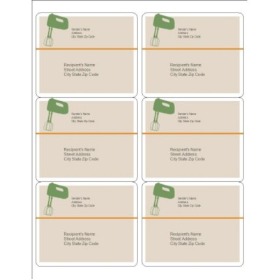 Kitchen Utensils Shipping Labels, 6 per sheet