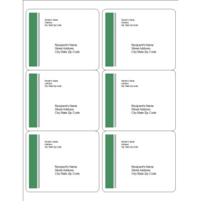 Green and Grey Bar Side Shipping Labels, 6 per sheet