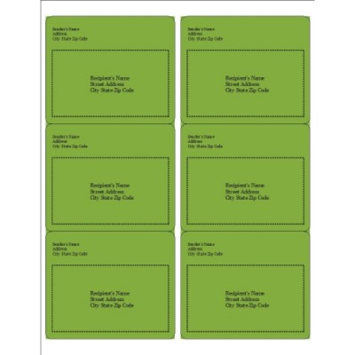 Green Background Shipping Labels, 6 per sheet