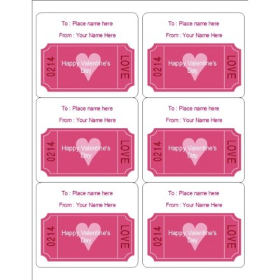 Love Coupon Labels, 6 per sheet