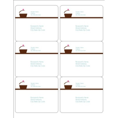 Turquoise Border Shipping Labels, 6 per sheet