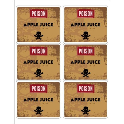 Poison Apple Juice Labels, 6 per sheet