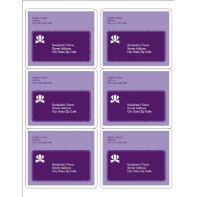 Classic Purple Shipping Label 6, per sheet