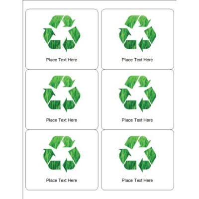 Grassy Recycle Labels, 6 per sheet