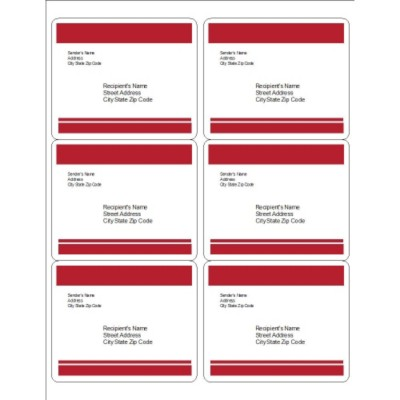 Red Bars Shipping Labels, 6 per sheet