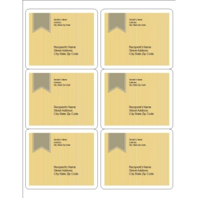 Beige Background with Ribbon Design, Shipping Labels, 6 per sheet