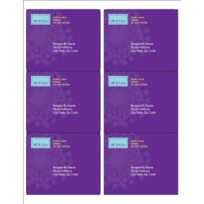 Purple Background Shipping Labels, 6 per sheet