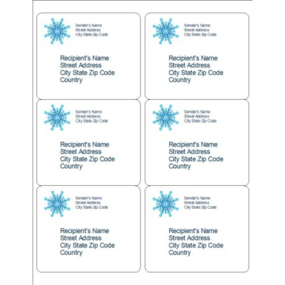 Snowflake Shipping Labels, 6 per sheet
