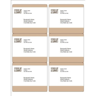 Pale Taupe Border Shipping Labels, 6 per sheet