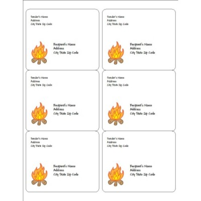 Summer Camp Campfire Shipping Labels, 6 per sheet