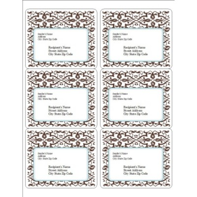 Classic Teal and Brown Pattern Shipping Label 6, per sheet