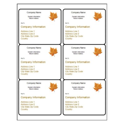 Thanksgiving Shipping Label, 6 per sheet