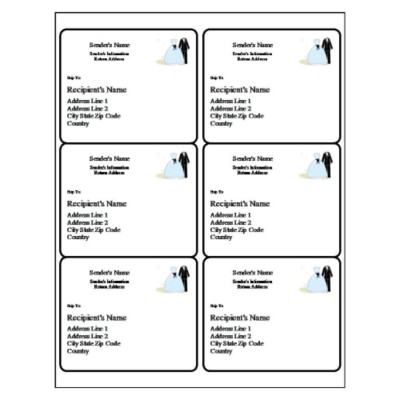 Wedding Shipping Label, 6 per sheet