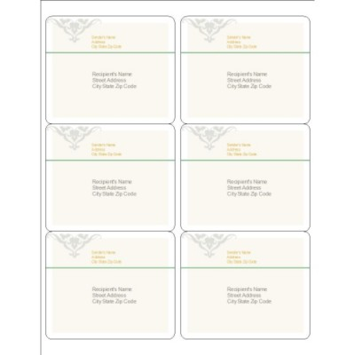 Scroll Design Shipping Labels, 6 per sheet