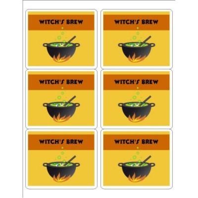 Witch's Brew Labels, 6 per sheet