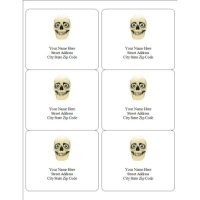 Skull Multipurpose Labels, 6 per sheet
