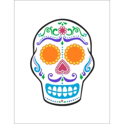 Day of the Dead Skull Window Decal , 1 per sheet