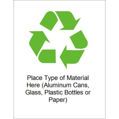 "Recycling Symbol- Durable ID Label - 8 1/2 x 11"" - 1 per sheet"